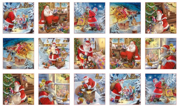 Weihnachtsmann Stoff Panel Santa Claus is Coming