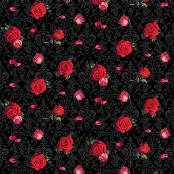 Rosen Stoff Elegant Flowers on Damask