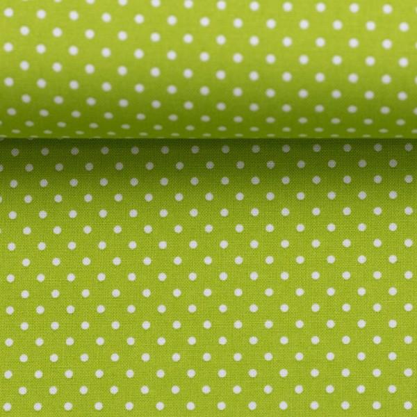 Baumwollstoff Punkte Kiwi Grün Weiß