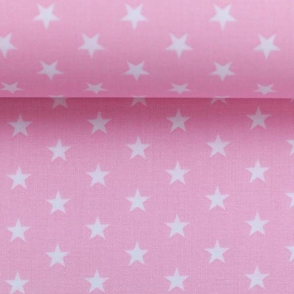 Baumwollstoff Sterne Hellrosa Weiß