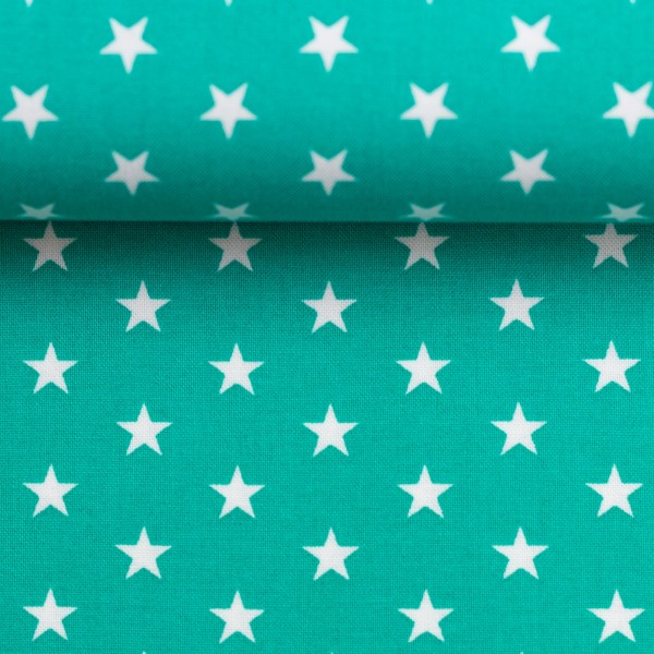 Baumwollstoff Sterne Mint Weiß