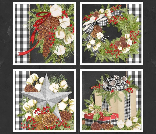Weihnachtsstoff Kissen Panel Christmas Gingham Pillow
