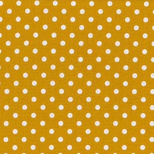 Baumwollstoff Dots 7mm Senf Gelb Weiß