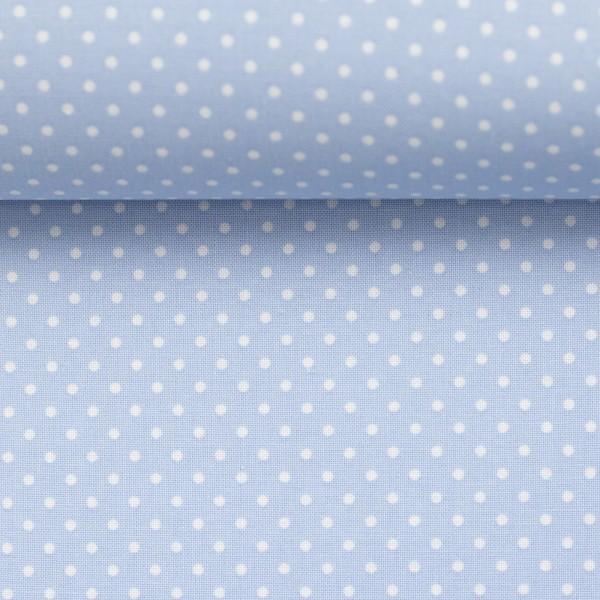 Baumwollstoff Punkte Baby Blau Weiß