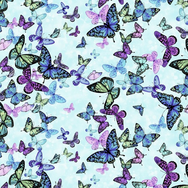 Schmetterlinge Stoff Digitaldruck Magic Butterflies Aqua