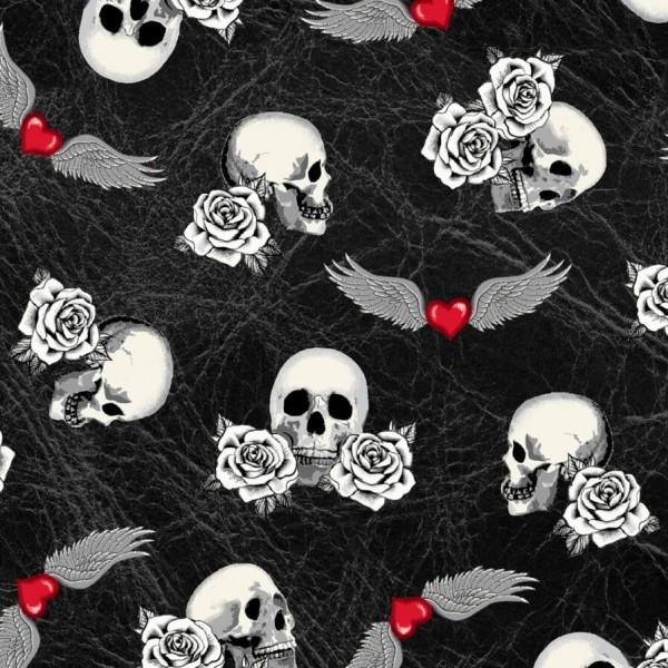 Totenkopf Stoff Born to Ride Skulls Black