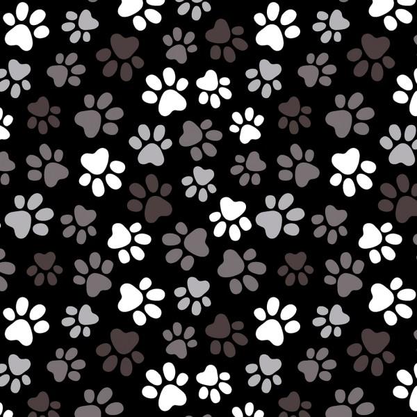 Überbreiter Pfoten Stoff Black Multi Paw Prints 108in