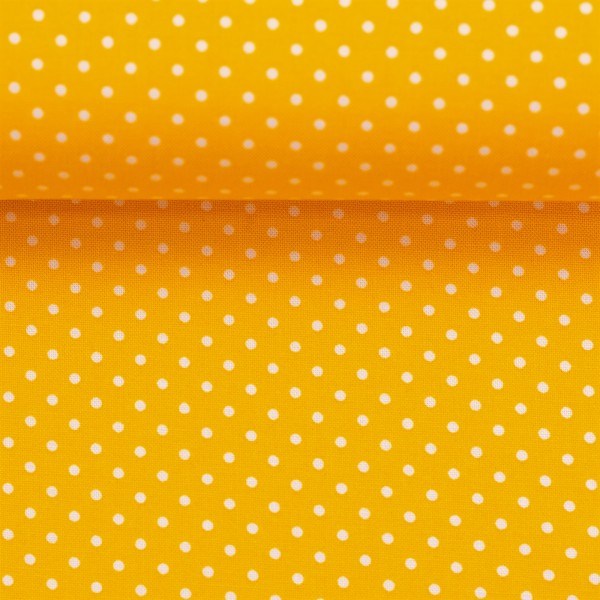Baumwollstoff Punkte Gelb Weiß