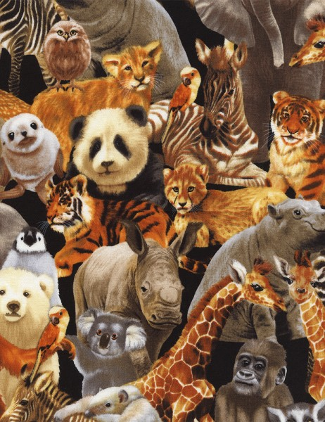 Zoo Tiere Stoff Natural Animals