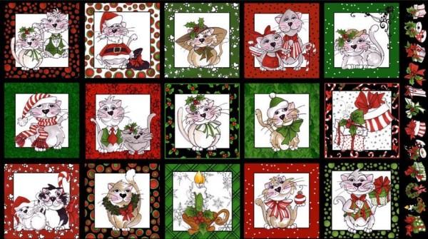 Katzen Stoff Panel Kitty Christmas Cats