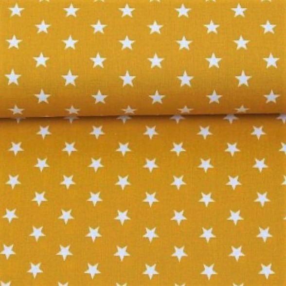 Baumwollstoff Sterne Senf Gelb Weiß