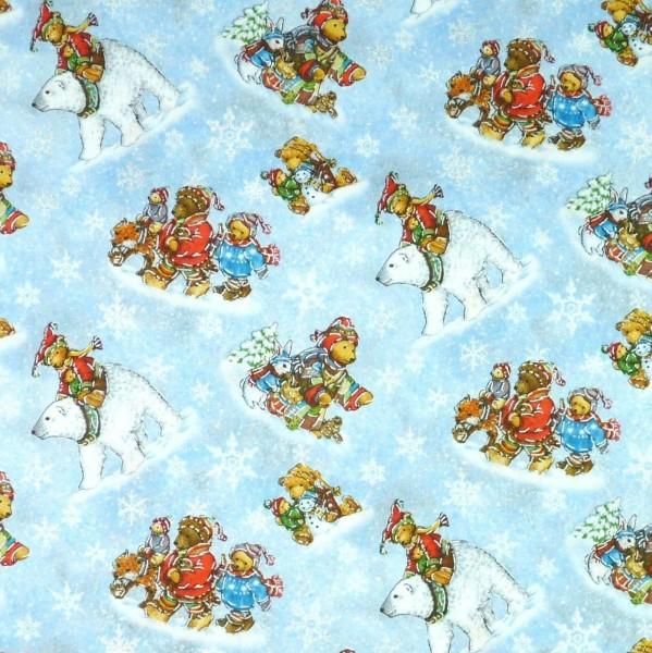 Bären Kinder Stoff Weihnachtsstoff Snow Bears