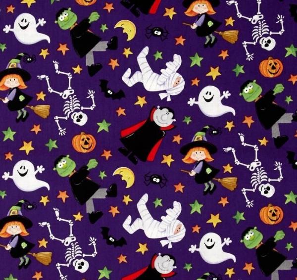 Halloween Patchworkstoff KIndermotive Geister Hexen Magier