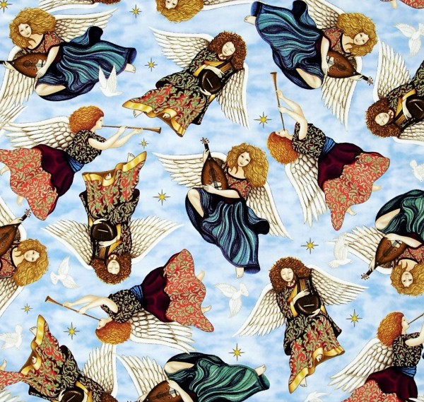 Heavenly Angels Blau Engel Patchworkstoff Weihnachten