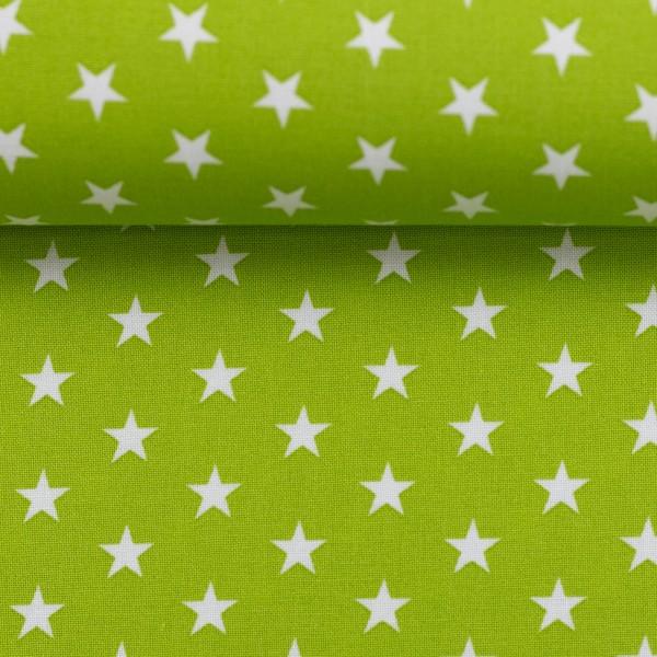 Baumwollstoff Sterne Kiwi Grün Weiß