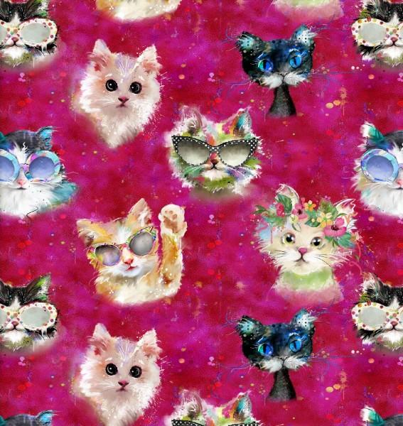 Katzen Stoff Pink Good Kitty Cats