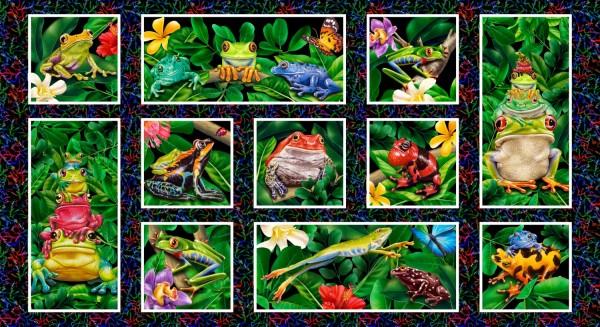 Frosch Stoff Panel Frogs Jewels Digitaldruck
