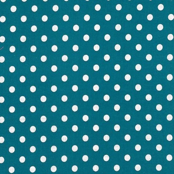 Baumwollstoff Dots 7mm Petrol Weiß