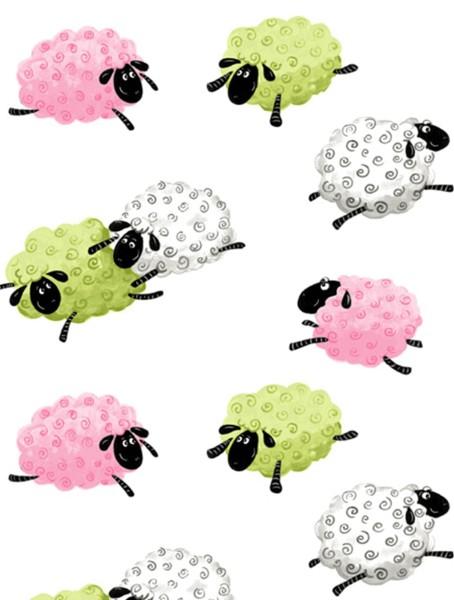 Schafe Kinder Stoff Lewe Leaping Sheeps