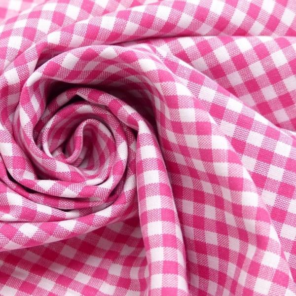 Baumwollstoff Karo Pink Weiß