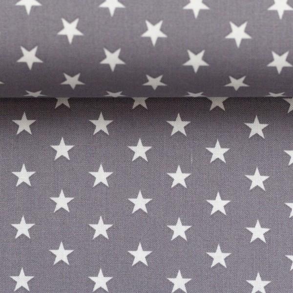 Baumwollstoff Sterne Grau Weiß