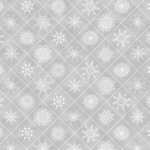 Schneeflocken Stoff Grau Holiday Lane Snowflakes in Boxes Gray