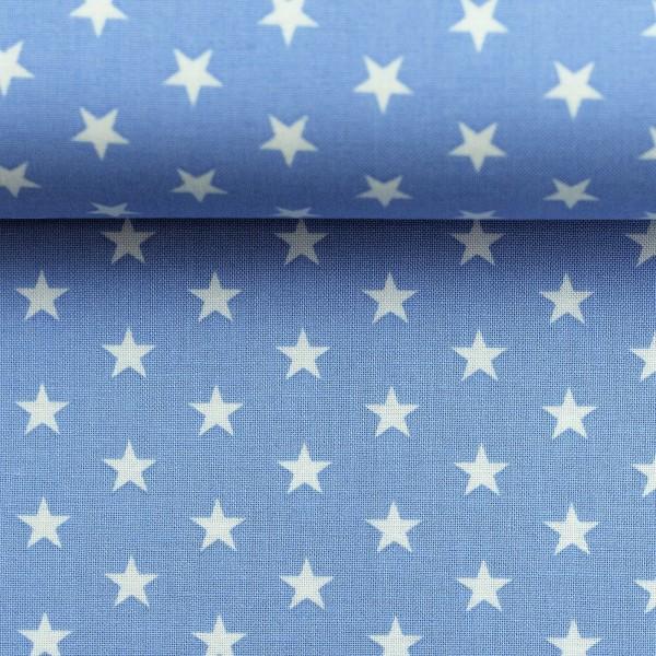 Baumwollstoff Sterne Hellblau Weiß