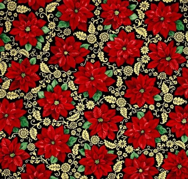 Patchworkstoff Poinsettia Grandeur Metallic Weihnachten Stoff