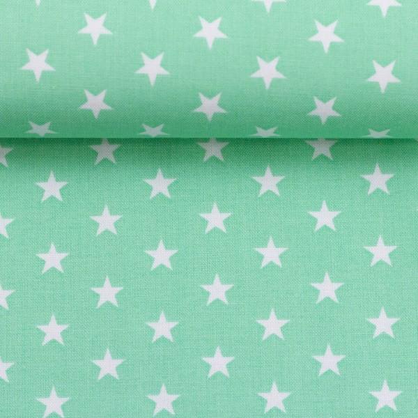 Baumwollstoff Sterne Hell Mint Weiß