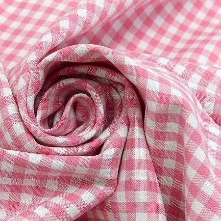 Baumwollstoff Karo Rosa Weiß