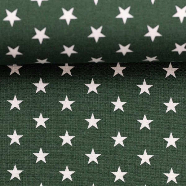 Baumwollstoff Sterne Dunkelgrün Weiß