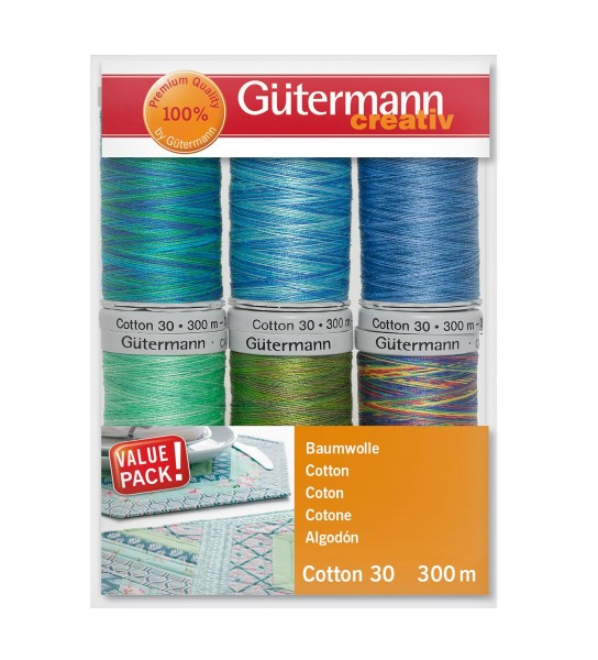 Quilt- u. Stickgarn Set 6 x 300m Cotton 30 Multicolor 3