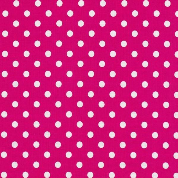 Baumwollstoff Dots 7mm Pink Weiß