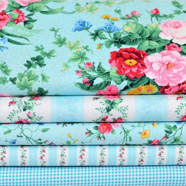 Julia's Garden Patchwork Stoffpaket Blau