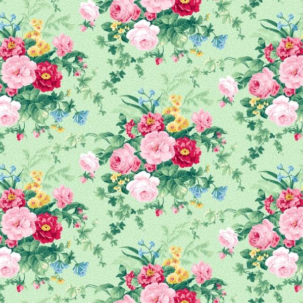 Blumen Stoff Grün Julia's Garden Large Floral