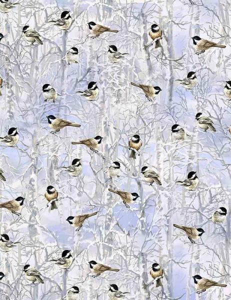 Vögel Stoff Chicadees in Winter