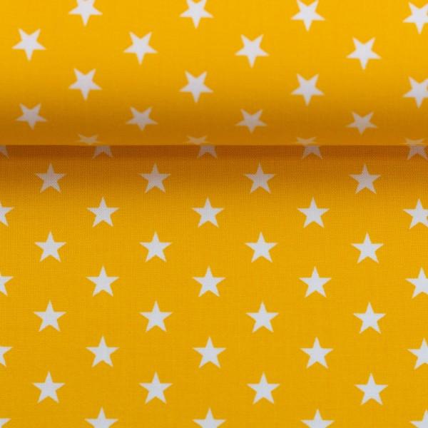 Baumwollstoff Sterne Gelb Weiß