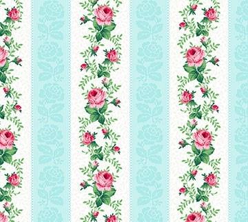 Julia's Garden Floral Stripe Blau