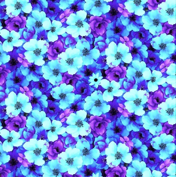 Blumen Stoff Night Bloom Fleur Aqua