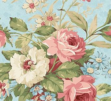Große Blumen Stoff Blau Vintage Rose
