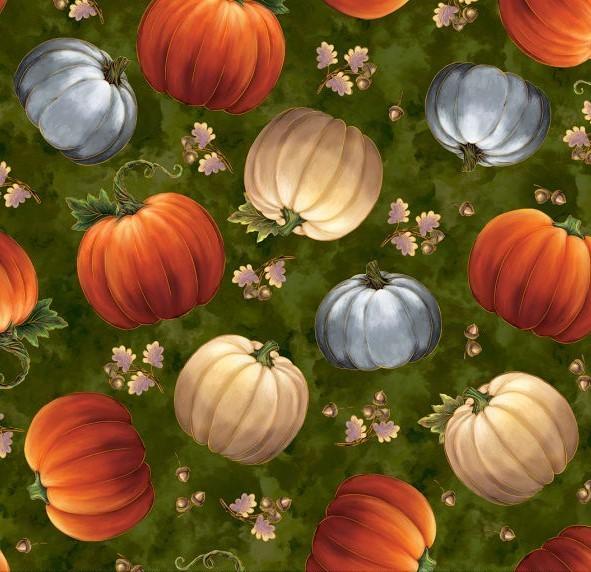 Kürbis Stoff Harvest Elegance Pumpkins