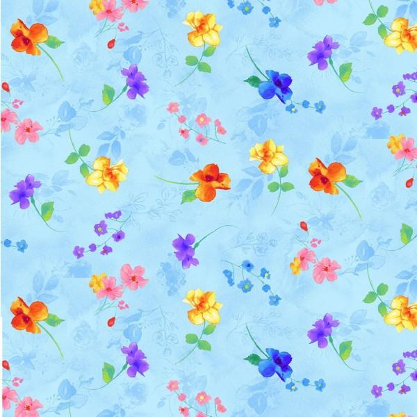 Blumen Stoff Rain Blossom Blue
