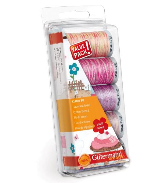 Quilt- u. Stickgarn Set 5 x 300m Cotton 30 Multicolor 3