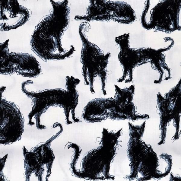 Katzen Stoff Scribble Cats