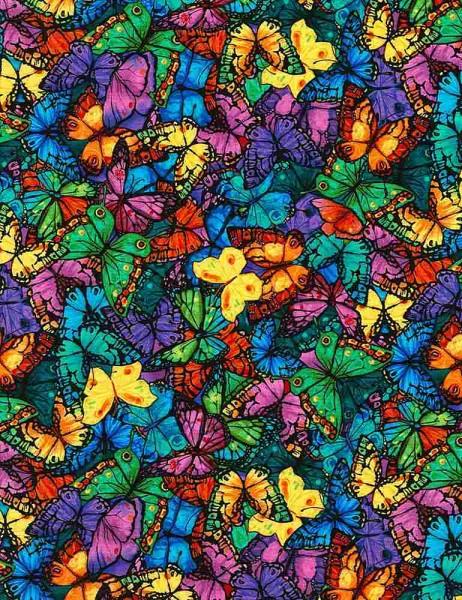 Schmetterlinge Stoff Midnight Tropical Butterflies