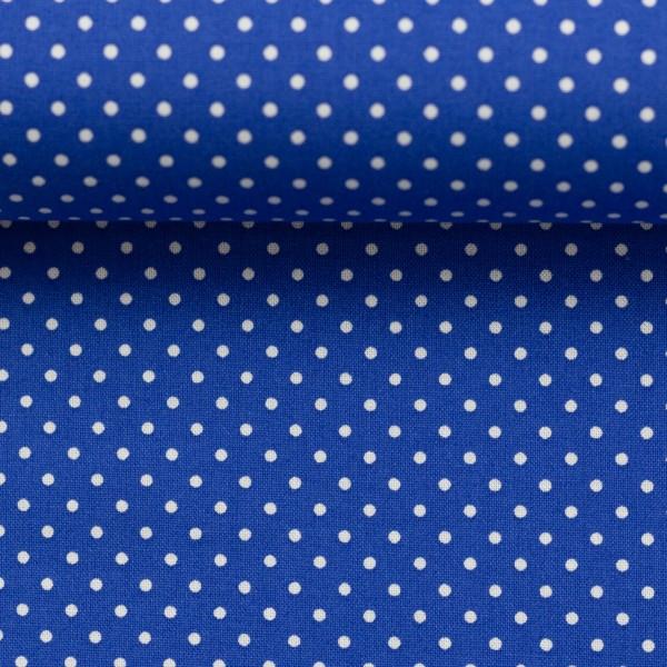 Baumwollstoff Punkte Royal Blau Weiß