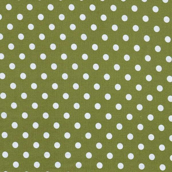 Baumwollstoff Dots 7mm Olivgrün Weiß