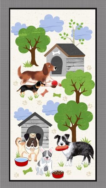 Hunde Stoff Panel A Dog's Life