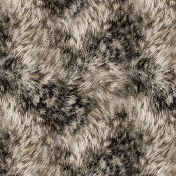 Wölfe Fell Stoff Majestic Wolves Fur Grey Digitaldruck