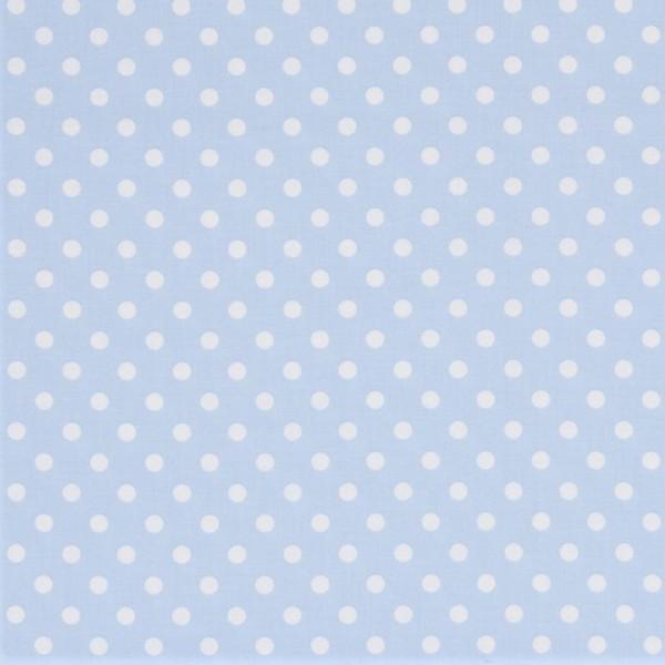 Baumwollstoff Dots 7mm Baby Blau Weiß